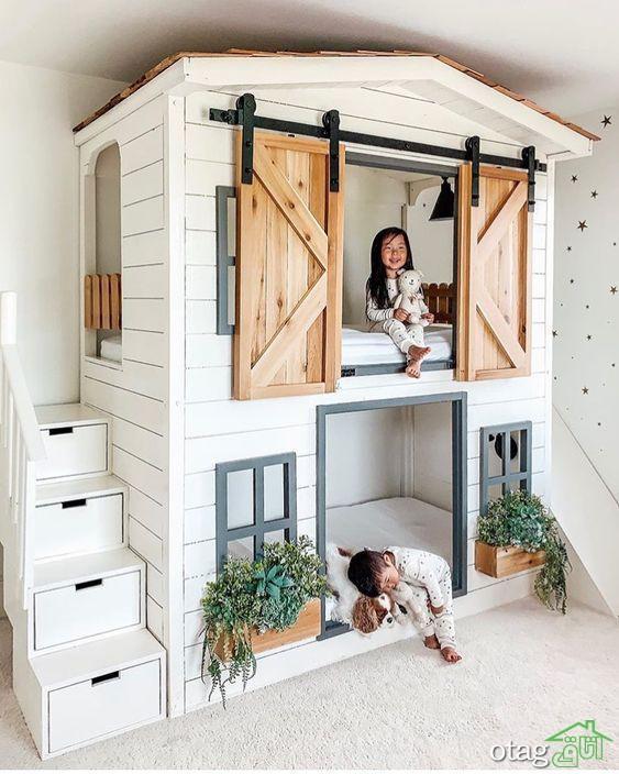 مدل تخت خواب کودک همراه کمد و کشو برای ذخیره سازی لوازم