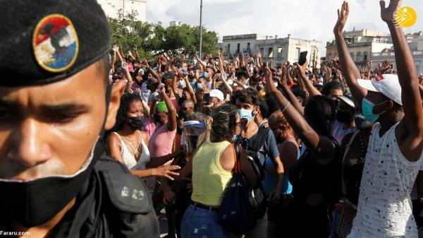 (تصاویر) اعتراضات ضد دولتی بی سابقه در کوبا